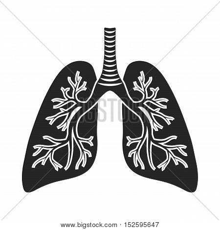 Lungs icon in black style isolated on white background. Organs symbol vector illustration.