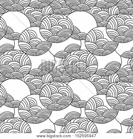 Seamless vector pattern. Ornamental linear background with circles. Decorative hand drawn repeating texture with curly ornamental outlines.