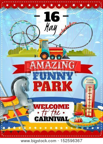 Amusement park poster with dynamometer striker and carousel icons and welcome to carnival invitation with date flat vector illustration