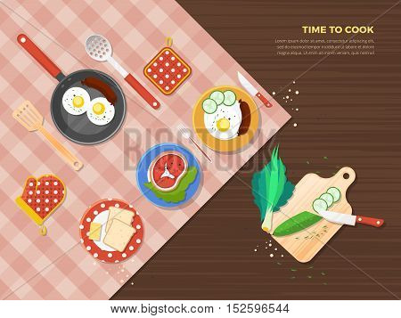 Time to cook top view poster of dishes from different food ingredients and preparation process vector illustration