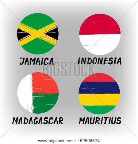 Set Of 4 Flags - Round Icons - Jamaica Indonesia Madagascar Mauritius