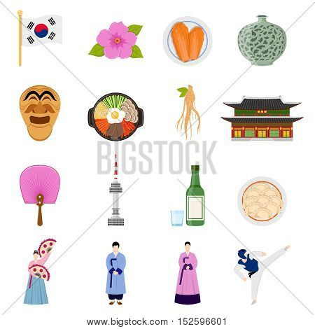 Korean cultural symbols flat icons collection with traditional cuisine clothing sports games and landmarks isolated vector illustration