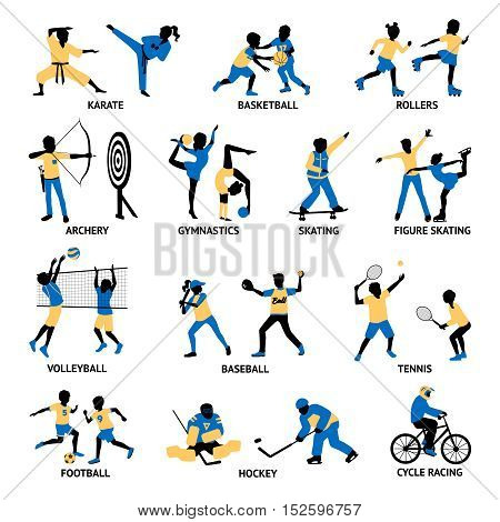 Set of sportsmen silhouettes involving in different games and activities isolated vector illustration
