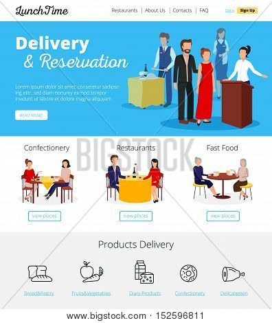 Restaurant online delivery orders and fast food cafe bars  reservations service infographic flat banners design vector illustration