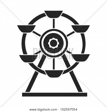 Ferris wheel icon in black style isolated on white background. Play garden symbol vector illustration.