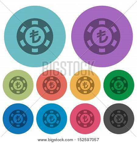 Turkish Lira casino chip flat icons on color round background.