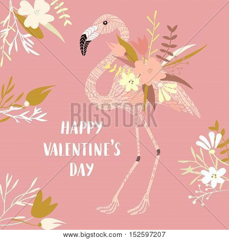 Vector modern love card, posters for Valentines Day or wedding. Hand lettering, flamingo and flowers.