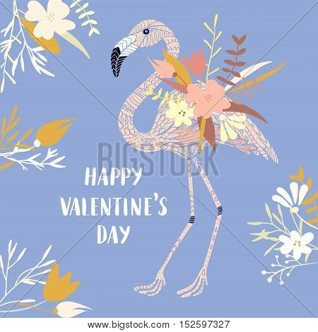 Vector modern love card, posters for Valentines Day or date, wedding. Hand lettering, flamingo and flowers.