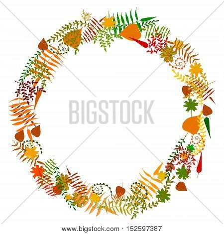 Vector cute autumn leaves frame isolated on white. Decoration for printed production publishing information sources. Design element for posters frames and spaces.
