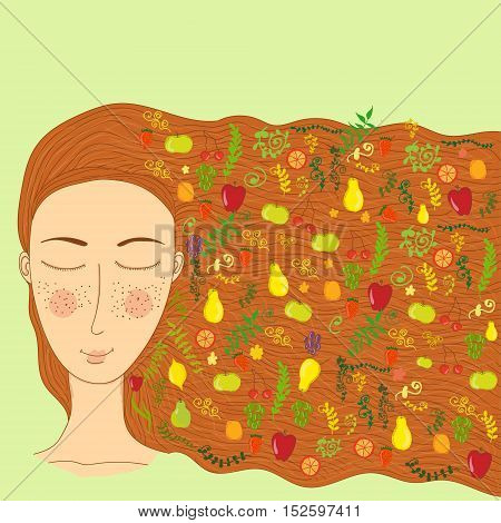 Vector cartoon naive picture with a personalized image of summer isolated on green background. Illustration for children books and magazines winter theme floristry and printed production image.