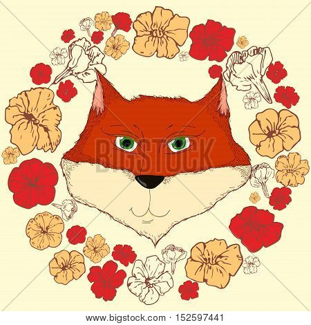 Vector cute illustration with a green-eyed fox in a floral wreath isolated on light background. Illustration for children animal floral themes design element for postcards printed production cartoon images textile and cloth.