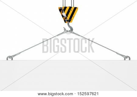 crane hook with empty plate for text 3D rendering isolated on white background