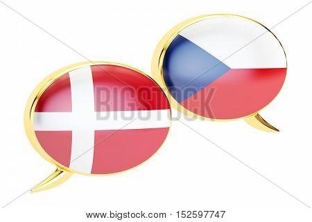 Speech bubbles Danish-Czech translation concept. 3D rendering