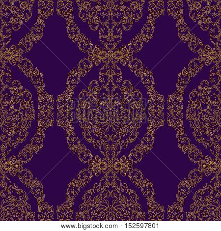 Vector ornate seamless pattern in Eastern style on deep violet background. Ornamental vintage design for wedding invitations and greeting cards. Traditional gold decor