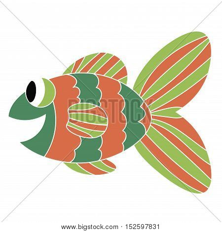 Crazy tropical green and orange fish. Colorful cute cartoon doodle sea animal. Hand drawn aquarium fish isolated on white background.