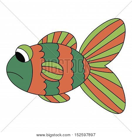 Sad orange and green fish isolated on white background. Vector illustration.