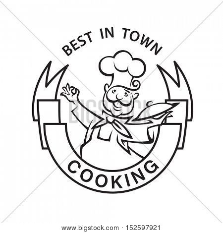 monochrome image of chef with ribbon