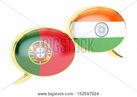 Speech bubbles Portuguese-Indian translation concept. 3D rendering