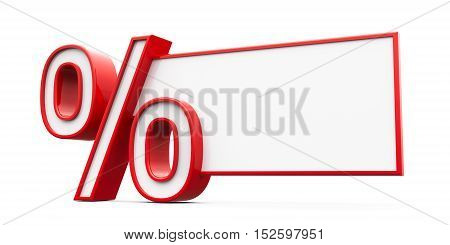 Red percent sign with blank text area isolated on white background three-dimensional rendering 3D illustration