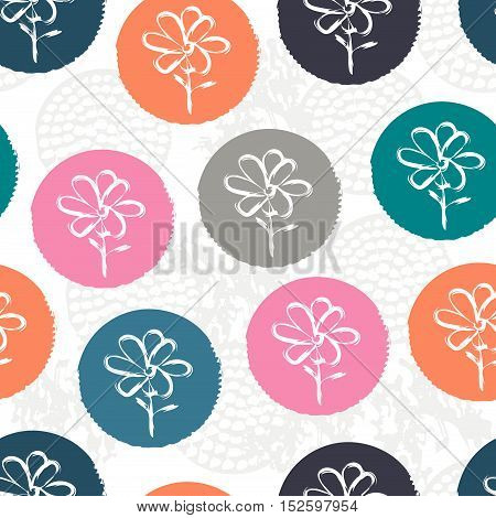 Random pink, orange, blue, gray textured polka dot with flowers inside on white. Doodle seamless pattern with creative circles. Floral background with grunge texture. Vector illustration.