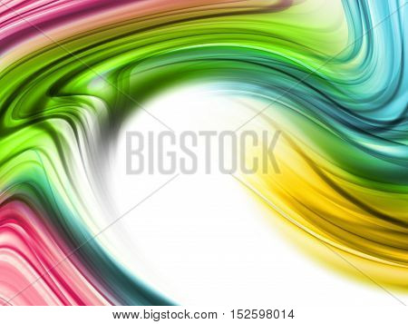 Abstract Modern Green Pink Orange Blue Waved Background With Place For Text