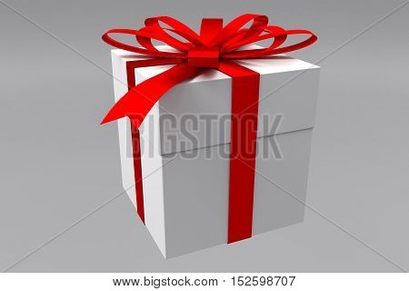 rendered occasional gift box with a red ribbon, 3d rendering