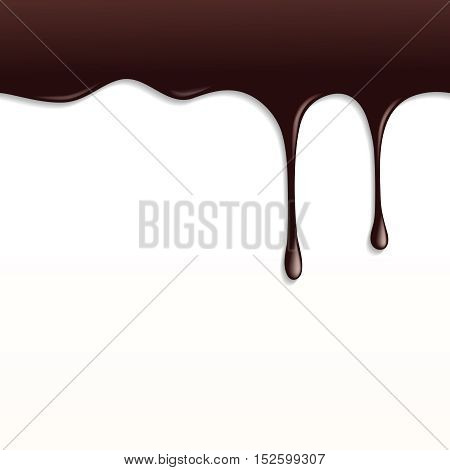 Melted Dark Chocolate Dripping on White Background