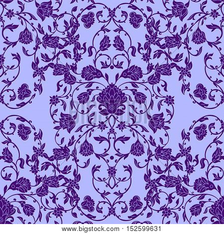 Vector intricate seamless pattern in Eastern style in violet color. Ornate elements for design.Inricate ornamental decoration can be used on wedding invitations and greeting cards. Traditional floral decor