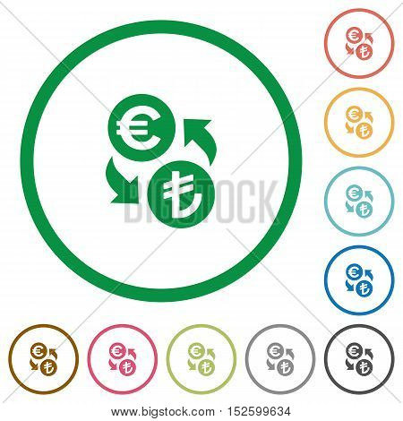 Euro Lira exchange flat color icons in round outlines