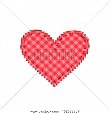 Simple red checkered heart sharp vector icon.