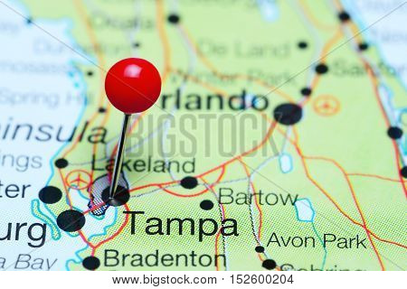 Tampa pinned on a map of Florida, USA