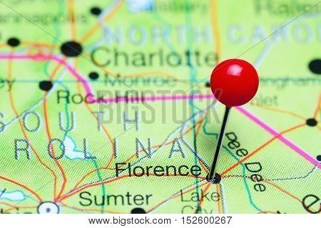 Florence pinned on a map of South Carolina, USA