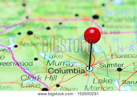 Columbia pinned on a map of South Carolina, USA