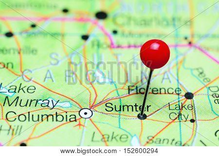 Sumter pinned on a map of South Carolina, USA