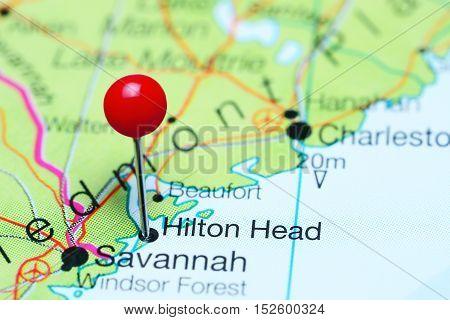 Hilton Head pinned on a map of South Carolina, USA