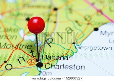 Hanahan pinned on a map of South Carolina, USA