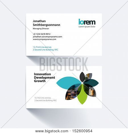 Vector business card template with with flower petals shapes for engineering and nature concept. Simple and clean design. Creative corporate identity layout.