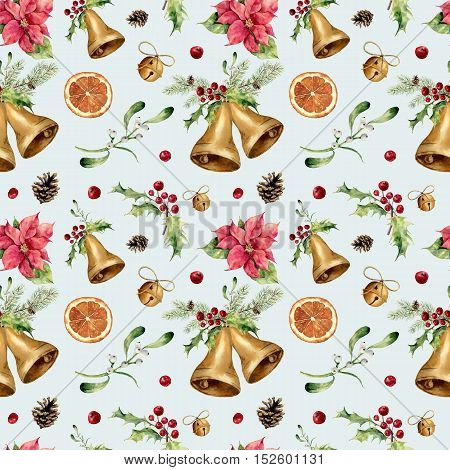 Watercolor christmas seamless pattern on blue background. New year tree ornament with bell, holly, mistletoe, poinsettia, orange slice, pine cone and bow for design, print or background.