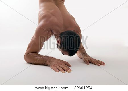 Strong athlete working extreme push ups. Strong athlete