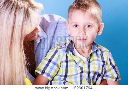 Young boy child spend time with mother.