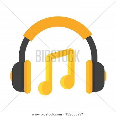 Headphones vector icon isolated on a white background.