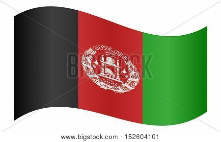 Afghan national official flag. Patriotic symbol banner element background. Correct colors. Flag of Afghanistan waving on white background vector illustration