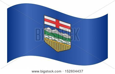 Albertan provincial official flag symbol. Canada banner and background. Canadian AB patriotic element. Flag of the Canadian province of Alberta waving on white background vector illustration