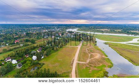 Drone aerial view from above land photography