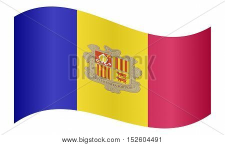 Andorran national official flag. Patriotic symbol banner element background. Correct colors. Flag of Andorra waving on white background vector illustration