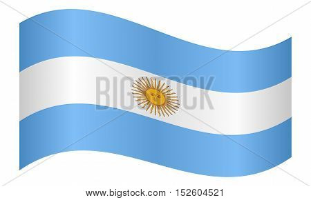 Argentinian national official flag. Argentine Republic patriotic symbol banner element background. Flag of Argentina waving on white background vector illustration