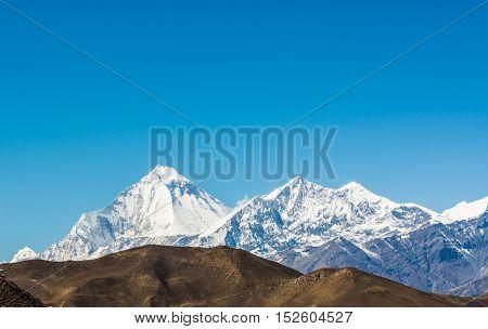 Snow covered mountain massif, Dhaulagiri. Peak rising 8167 m