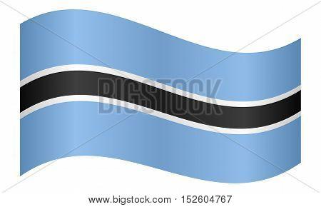 Botswanan national official flag. African patriotic symbol banner element background. Correct colors. Flag of Botswana waving on white background vector illustration
