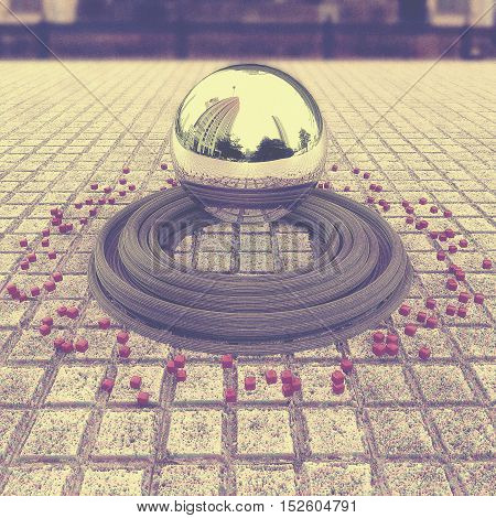 Chrome levitating sphere with reflections located in the center of the town square below her belt circles and small cubes. Abstract background wallpaper. 3d illustration