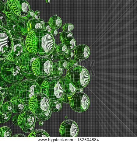 a lot of green glass spheres with reflections size carved on a dark background with rectangles.Shape design. Suitable for adding text. Abstract background or wallpaper. 3d illustration